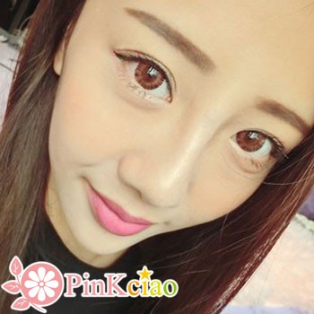 Decorative Eyes PLAY CUTE NO.2 咖色×粉红 (月抛/2片装)